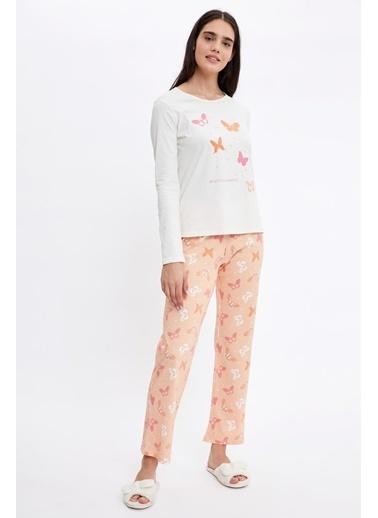 Defacto –Fit Kelebek Baskılı Uzun Kollu Pijama Takımı Oranj